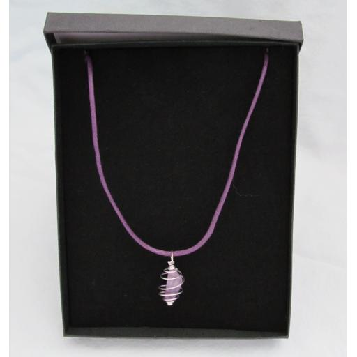 Cord Crystal Necklace (Amethyst)
