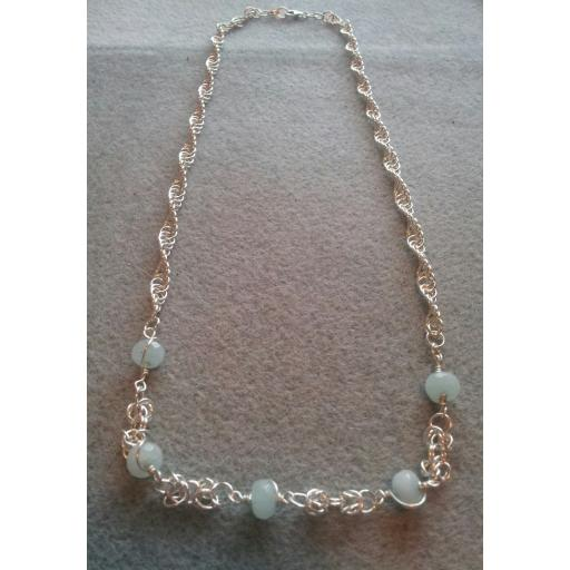 Sterling Silver Crystal Necklace (Aquamarine)