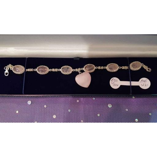 Rose Quartz Heart Bracelet